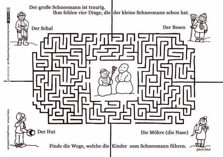 Durch das Jahr – Winter Schneemann Labyrinth – Schech