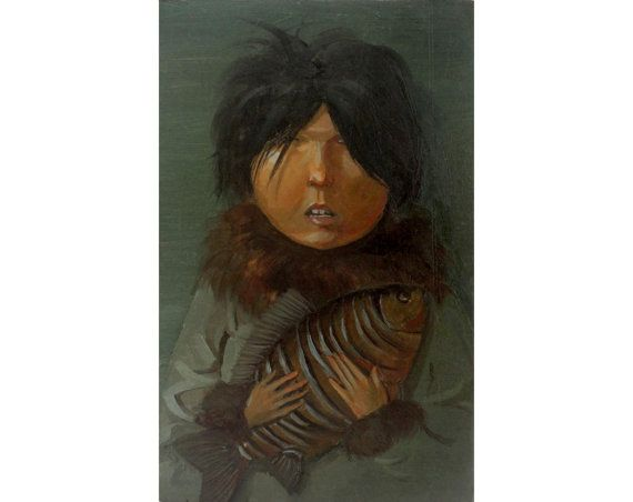Original oil painting. Girl with the fish. Portrait by OilOxOil, $130.00