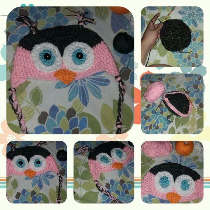 Gorrito de buho para niña  tejido crochet