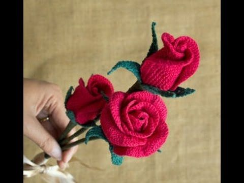 Attractive Crochet ROSE Flower with Rose BUD & LEAF Designs - YouTube