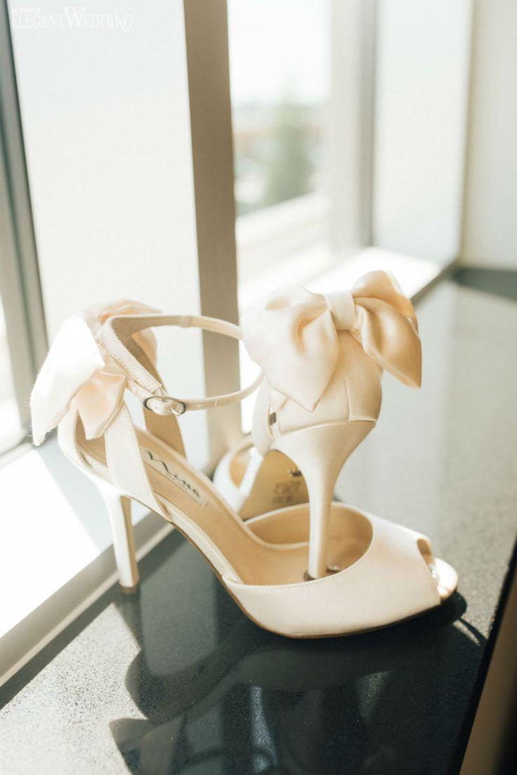 Cream White Heels with Bows by Nina Shoes  www.elegantwedding.ca