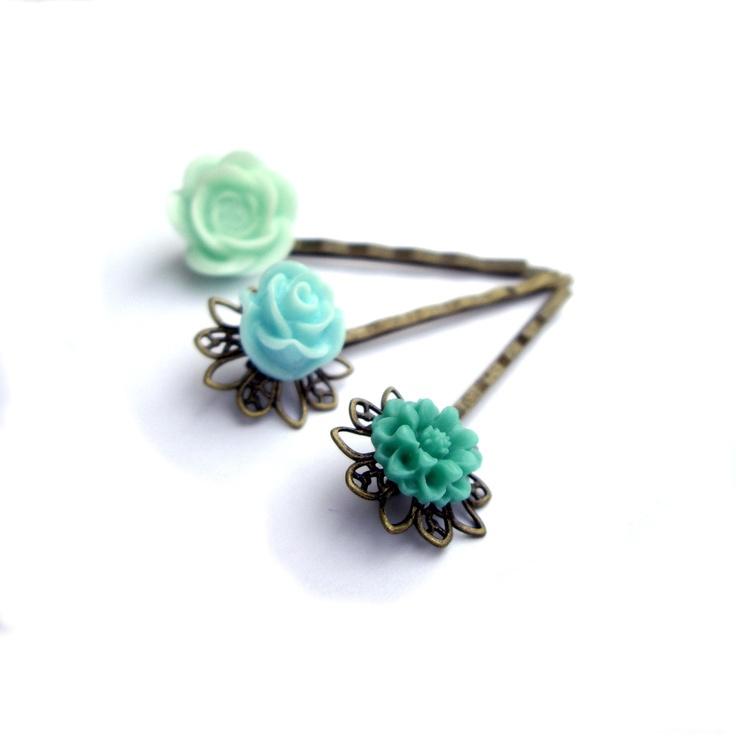 Mint Hair pins, Turquoise Hair pins, Teal Hair pins,. $15.00, via Etsy.