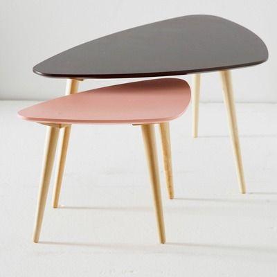 Table basse forme galet petit modèle laquée rose satiné - Vue 1