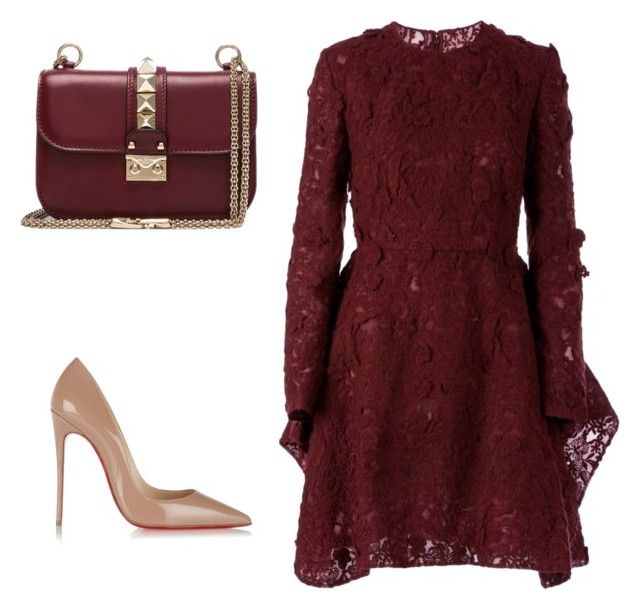 """Burgundy opsession"" by lilyks on Polyvore featuring Giambattista Valli, Valentino and Christian Louboutin"