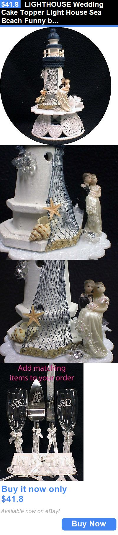 Wedding Cakes Toppers: Lighthouse Wedding Cake Topper Light House Sea Beach Funny Bride Groom Top Lake BUY IT NOW ONLY: $41.8