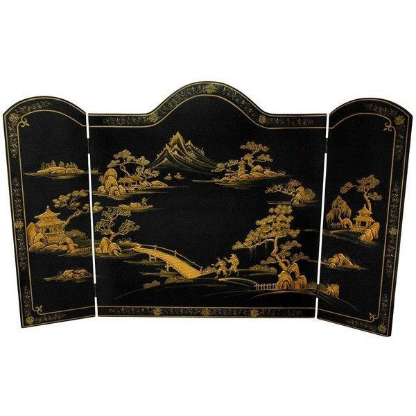 Lacquer Fireplace Screen (300 AUD) ❤ liked on Polyvore featuring home, home decor, fireplace accessories, fireplace, black fireplace screen, oriental home decor, asian screens, oriental screens and fire-place screen