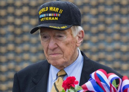 Hall of Fame NFL coach and World War II veteran Marv Levy, at a ceremony marking the 72nd anniversary of V-J Day, September 2, 2017 at the National World War II Memorial in Washington, D.C. (Joe Gromelski/Stars and Stripes) #football #WWII #veteran #halloffame #VJDay