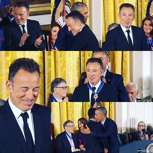Bruce Springsteen receiving the Presidential Medal of Honor from President Obama on November 22, 2016.