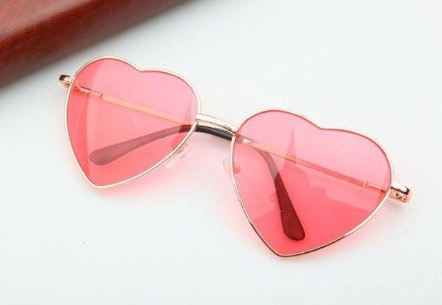 Heart-shaped rose Valentine gift reflective lenses girl sunglasses