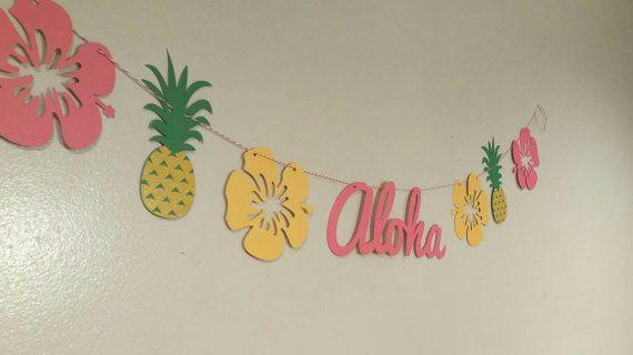 Bannière du parti Luau, aloha bannière, luau hawaïen, fête hawaïenne, bunting ananas, rôti de porc, fête tiki, soirée tropicale, tropicale de mariage,