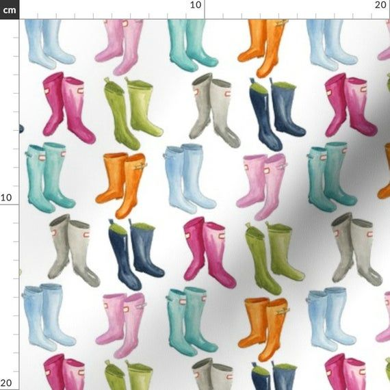 Watercolor Wellies Fabric Wellies Smaller By Jillbyers Rainbow