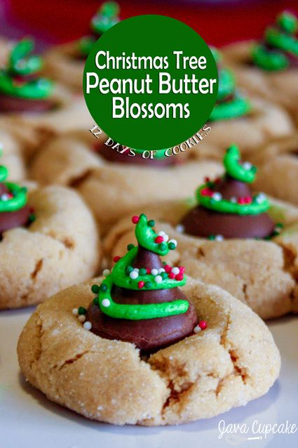 Christmas Tree Peanut Butter Blossoms | JavaCupcake.com