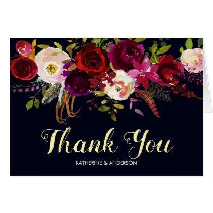 Navy Burgundy Marsala Wedding Thank You Card - wedding thank you gifts cards stamps postcards marriage thankyou