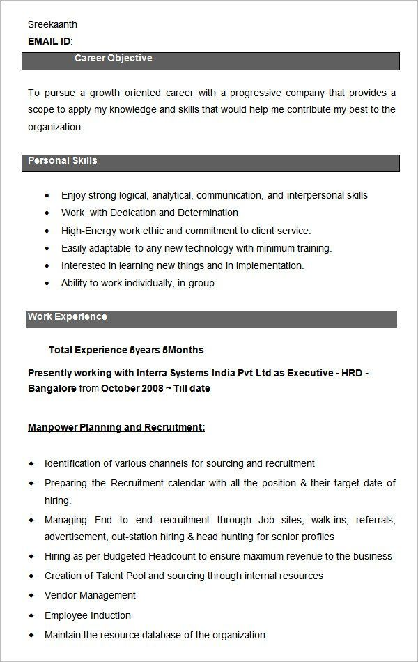 Xlri Resume Format Human Resources Resume Business Resume