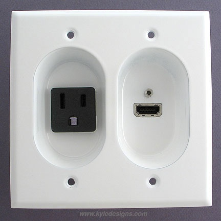 white recessed 15a receptacle and hi def hdmi connection port