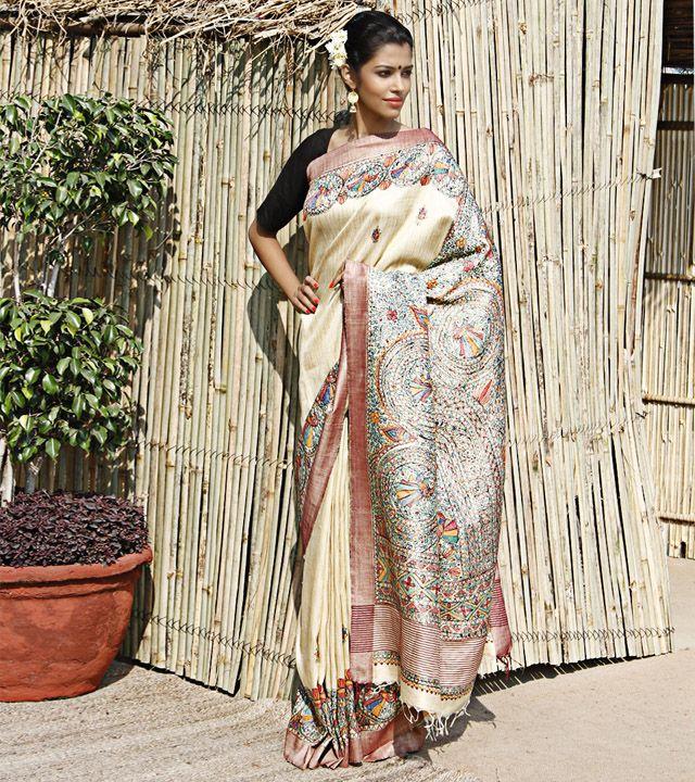Beige Pashmina Silk Saree With Madhubani