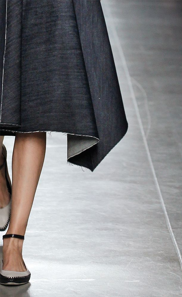 #BottegaVeneta Dark Navy Embroidered Light Denim Dress