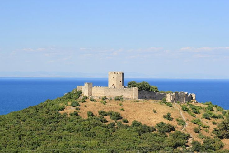 """Castle of Platamonas.The Byzantine Castle of Platamonas (platamonas = a long beach) is located in the southern part of Pieria, on the side of the national motorway, on the top of a small hill by the sea. It is built at a key-position, just opposite the """"passage"""" of the Valley of Tempi, which has connected Thessaly to Pieria since the remote antiquity."""
