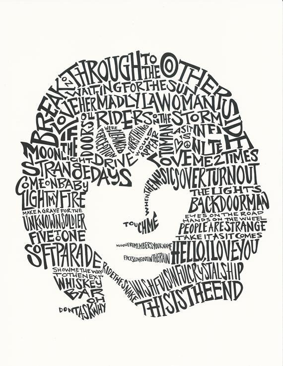 The Likeness Of Legendary Poet Singer Lyricist Of The Doors Jim Morrison Composed Of His Song L Black And White Words Jim Morrison The Doors Jim Morrison