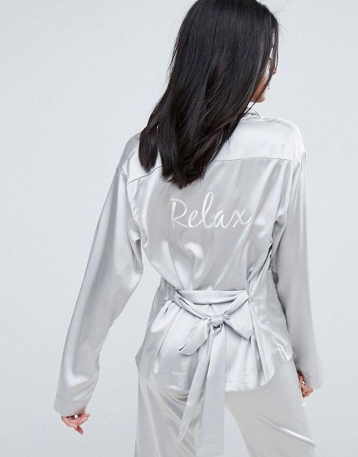 To Be Adored Rossy Silk Satin Pajama Shirt - Silver