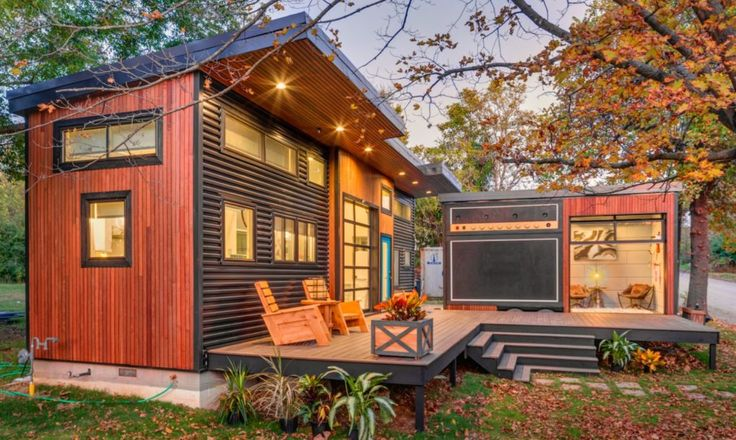 """a home that combined a love of music with her need to scale down her lifestyle, she came up with an """"amplified"""" tiny home, divided into two spaces - one for living and one for rocking out."""