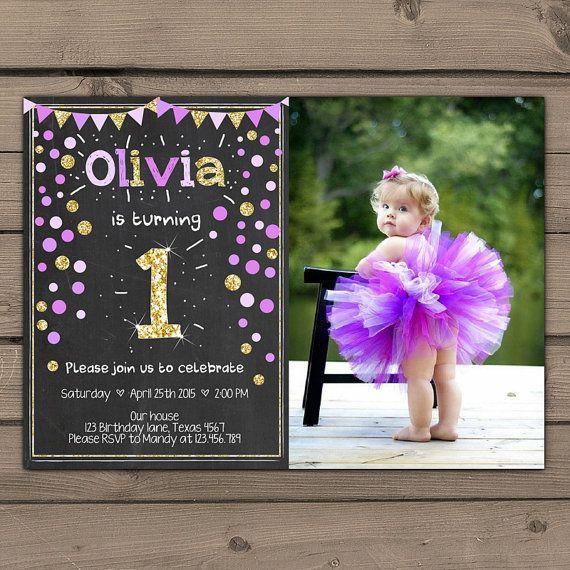 Gold glitter Purple first Birthday invitation by Anietillustration