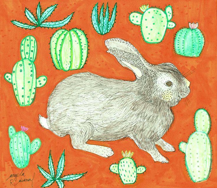rabbit and succulents #angelarabanaltapia #illustration