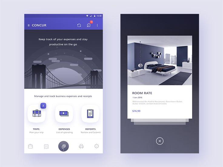 concur app redesign concept ((Homescreen + pop over))