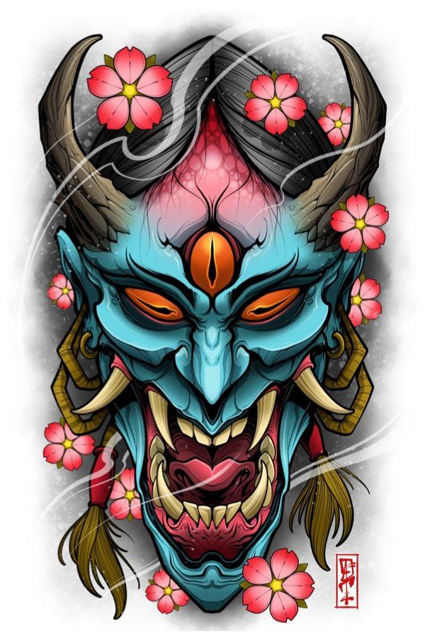 Image Of Full Force Hannyah Japanese Mask Tattoo Japanese Tattoo Designs Japanese Tattoo