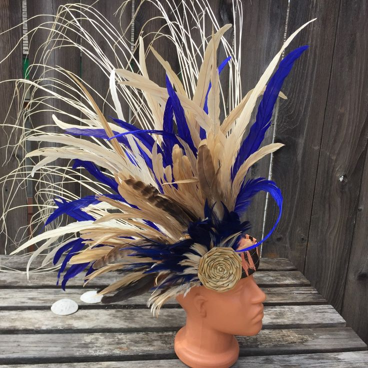 Side style headpiece in royal blue and naturals
