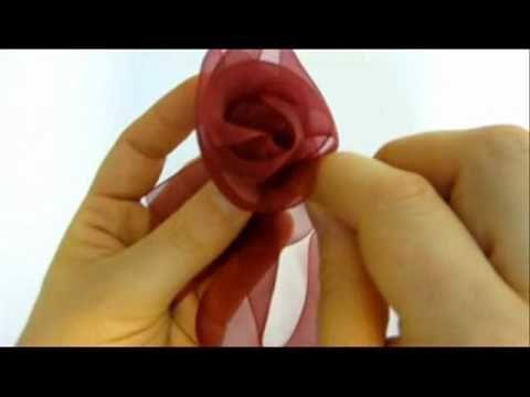 Ribbon Flowers - How To Make Beautiful Organza Ribbon Flowers - YouTube