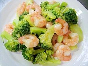 「ブロッコリーとむきエビの中華炒め」彩り鮮やか、あっさり味の炒め物です。【楽天レシピ】