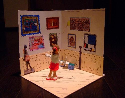 art museum diorama inspired by a book about the metropolitan museum of art