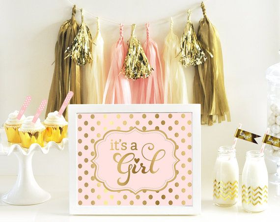 Pink And Gold Baby Shower Decor Sign With Itu0027s A Girl Printed In Gold And  Pink