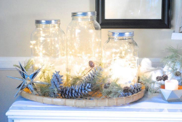 Simply added clusters of lights inside a mason jar to - Fairy light decoration ideas ...