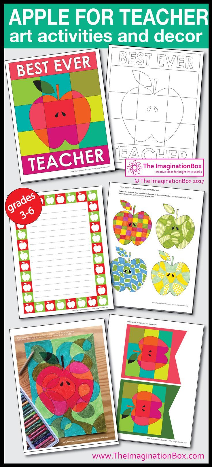 This apple themed art activities and classroom decoration pack is the perfect pdf download creative activity resource for a fun End of Year. Make teacher a card, make bookmarks, wristbands, hang bunting and posters and experiment with some abstract art activities with paints and pastels. Follow the link to view the full description and preview