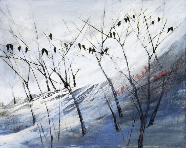 ARTFINDER: The winter birds by Marjan Fahimi - Mixed media on wood - 40x50 cm