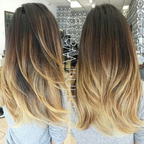 Sandy blond balayage ombre long layer cut hair - Ombre blond braun ...