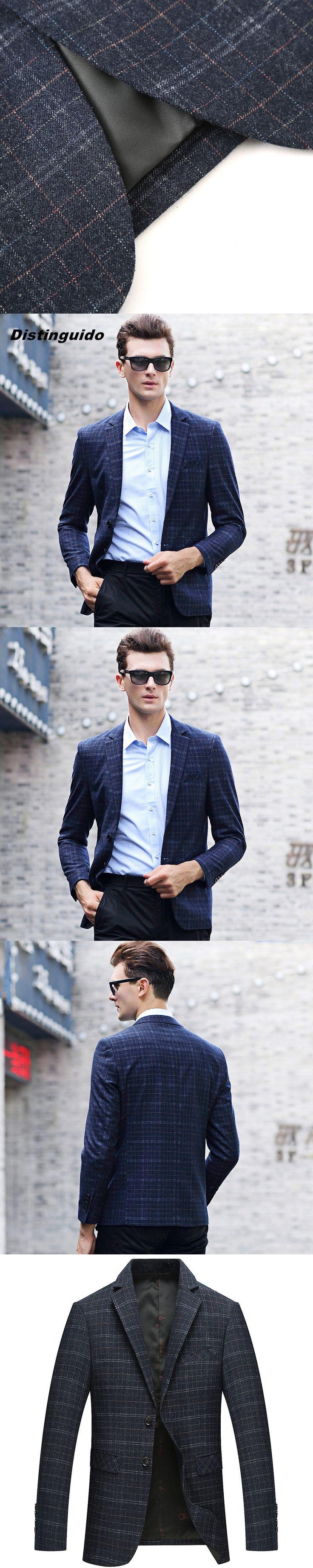 2017 Atutumn Winter New Blazer Men Fashion Blue Plaid Casual Suits  Brand Clothing MBL002