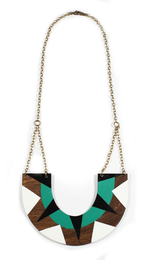 NEW SPRING 2013 COLLECTION!    Tribal U-Shape Wood Necklace in Emerald Green/Black/White. New for spring a bright geometric statement piece. Brass