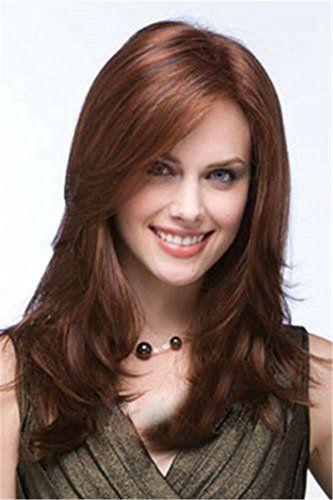 Diy-Wig Long Auburn Side Bang Layered Wave Hair Replaceme…