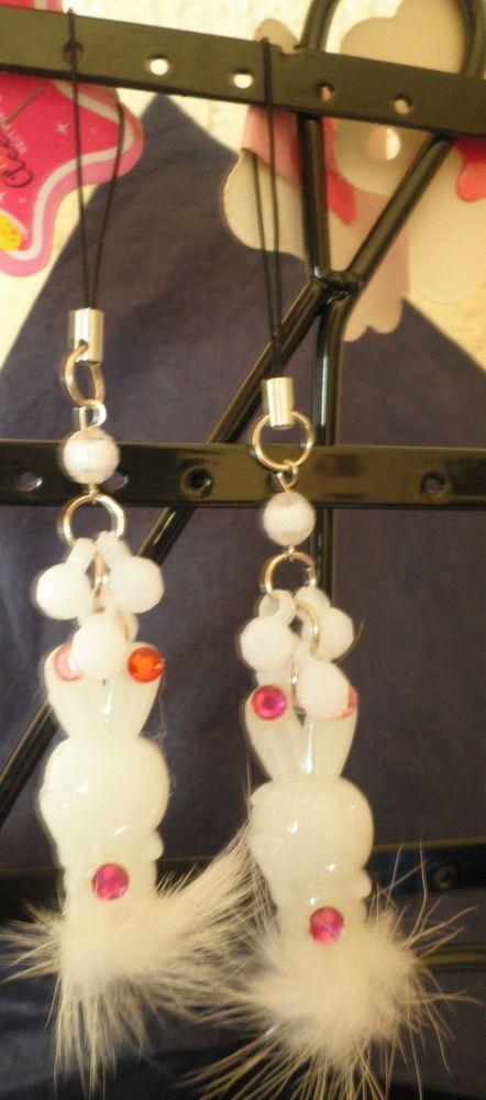 bijou de téléphone portable lapin blanc fourrure-strass diamant-perles noël