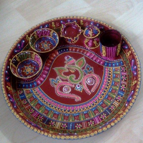 136 best tray gift images on pinterest packing saree for Aarti dish decoration