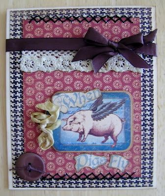 """This is a great """"When Pigs Fly"""" card by @Pam Bray using Olde Curiosity Shoppe and some embroidery and ribbon. Gorgeous! #graphic45 #cards"""
