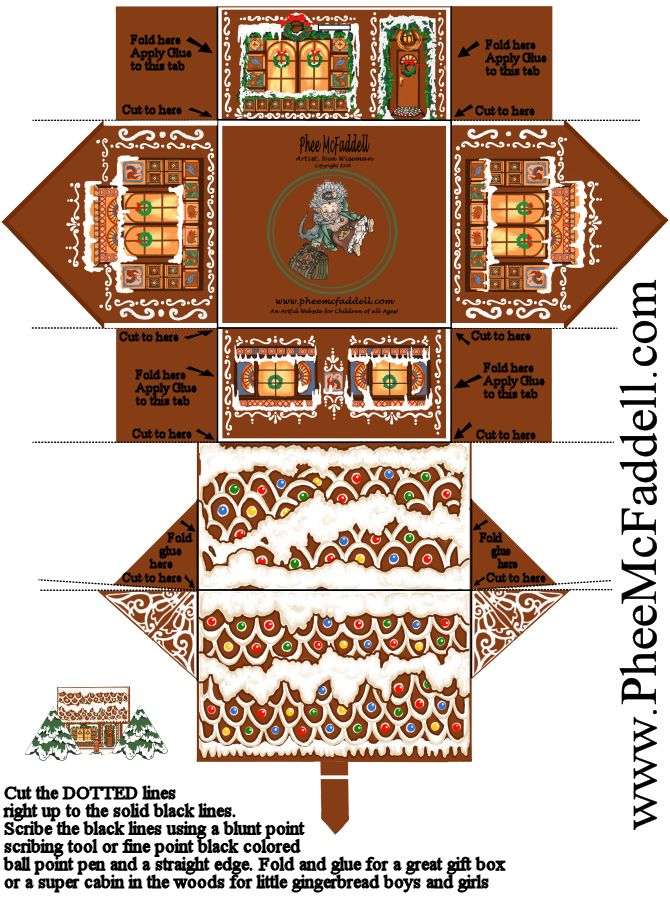 printable Gingerbread house ornament - print on heavy cardstock, cover with clearcoat (shiny or satin) & embellish!