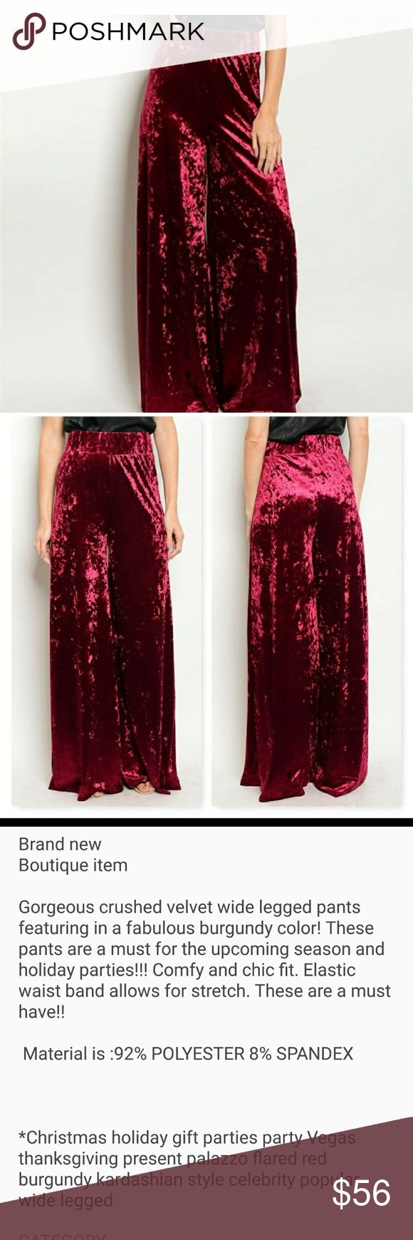 LAST CHANCE ❤ SEXY VELVET PANTS!! Brand new  Boutique Item  Never worn got wrong size. Perfect for this holiday season💋 modamecouture Pants Wide Leg