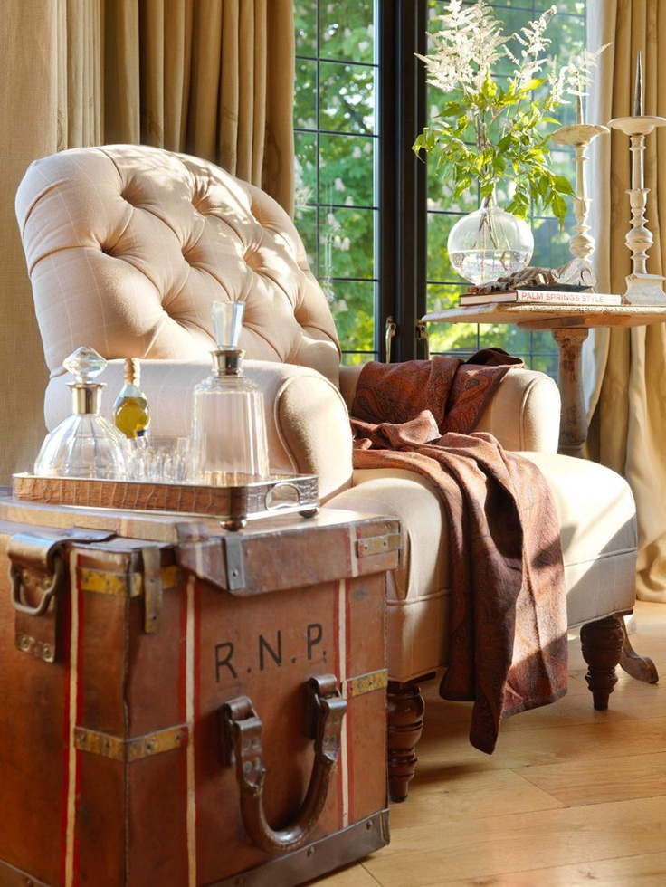 Love The Steamer Trunk Used For A Table With Tufted Traditional Chair 3 Portfolio Luxury Interior DesignInterior