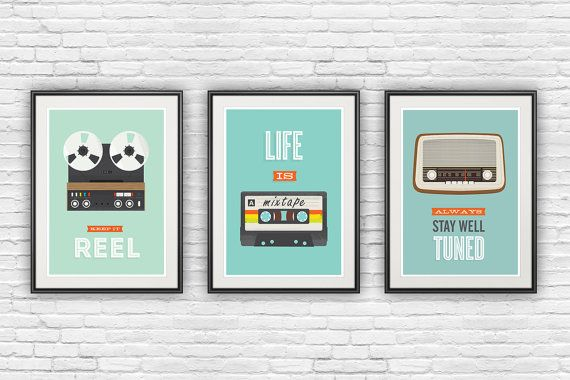 Retro poster,set of 3 prints, inspirational quote print, motivational poster, quote art, music art, positive quote, retro wall art, pop art