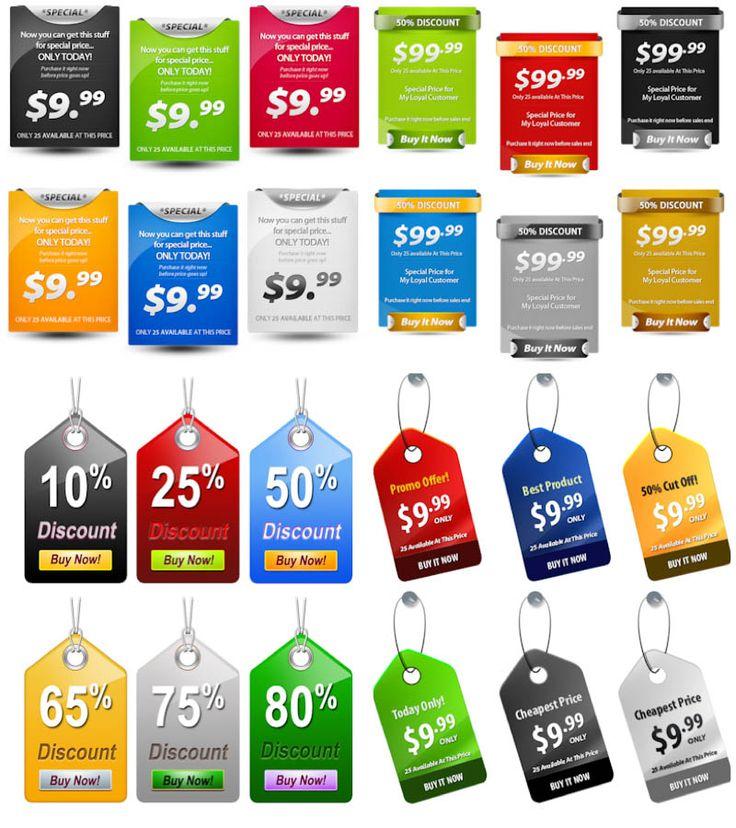 Price tags PSD templates