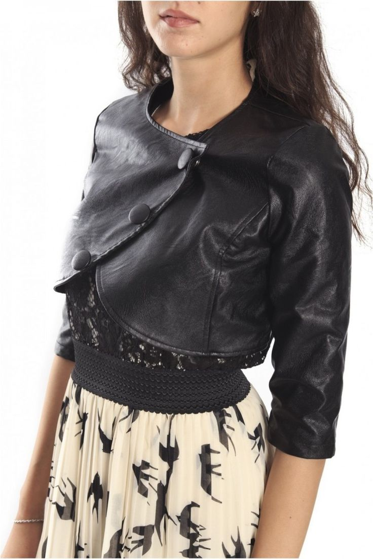 Rinascimento Black Short Jacket In Faux Leather, Art CFC0069654003
